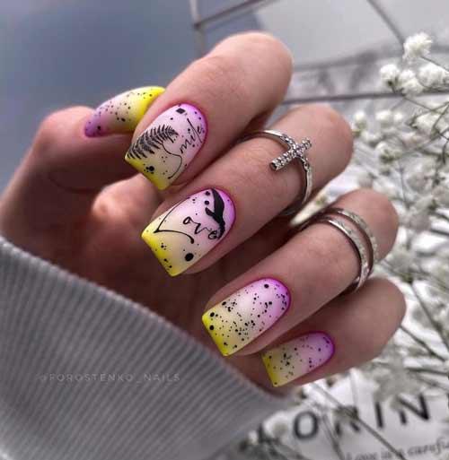 Neon milky gradient on nails