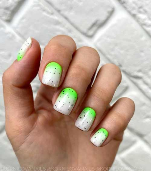 Milky with neon color manicure