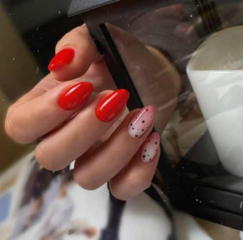 Red manicure with milky gradient