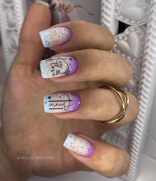 Multicolor milky gradient on nails