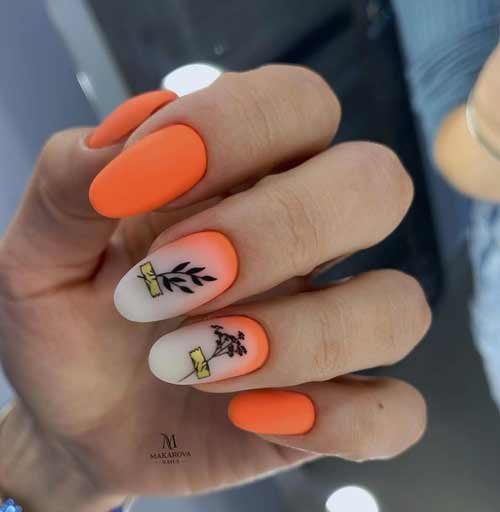 Orange-milk manicure