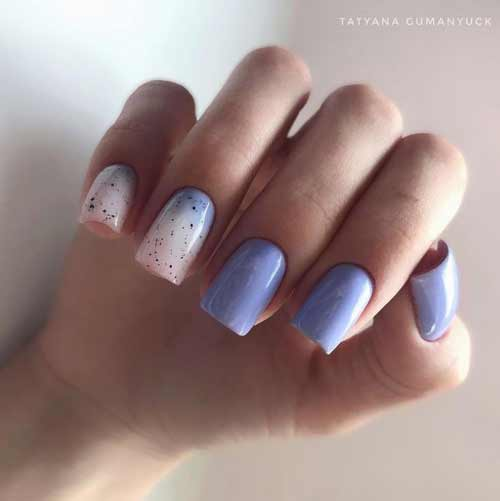 Two-tone milky gradient on nails