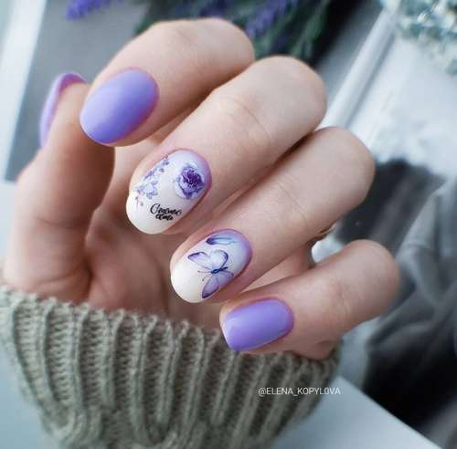Lilac-milky gradient on nails