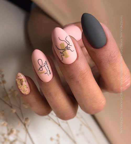 Pink and black manicure