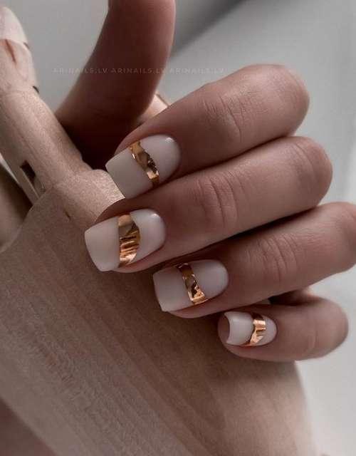 Foil Milk Nails Design