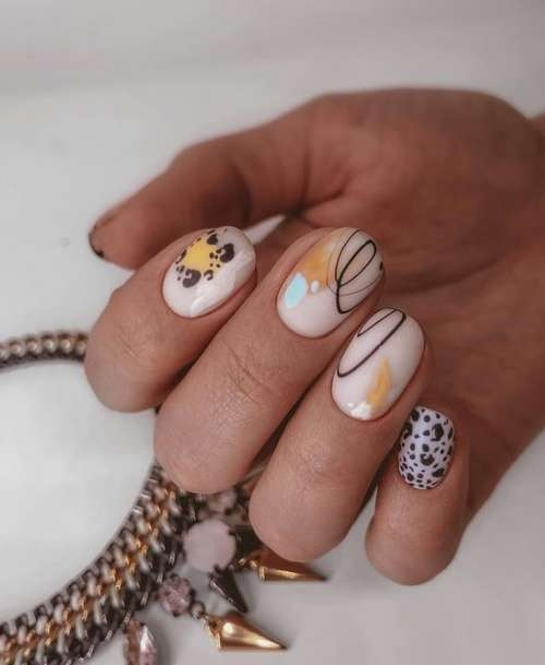 Milky nails with designs
