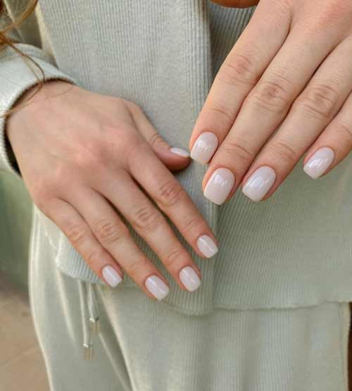 Milky nails without design