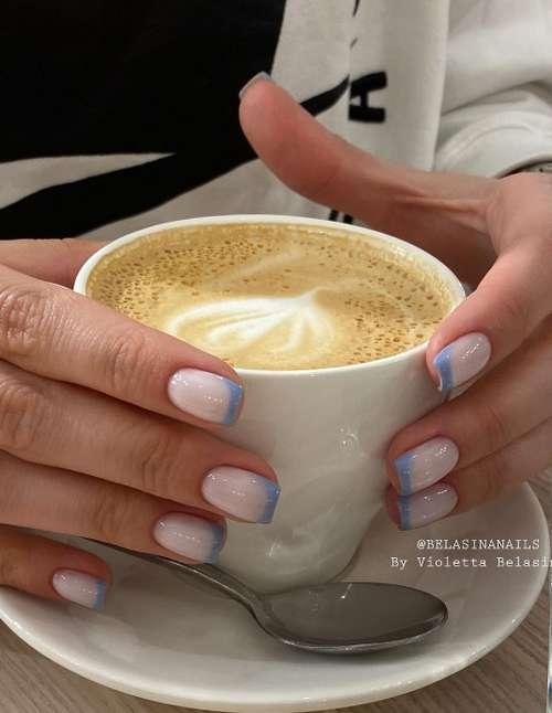 Milky French short nails