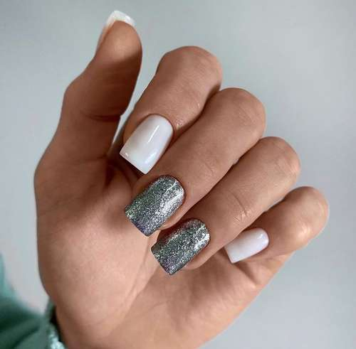 Milk glitter manicure