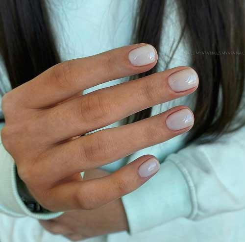Milk manicure for short nails