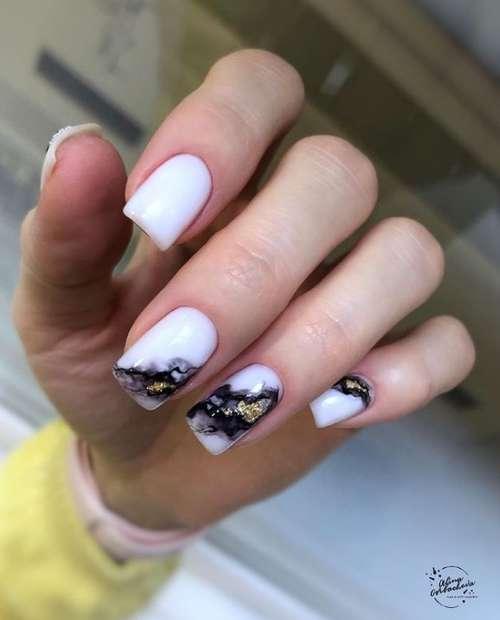 Milk manicure with foil