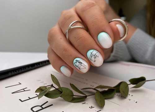 Manicure for milky colors very short nails