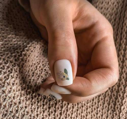 Milky matte manicure