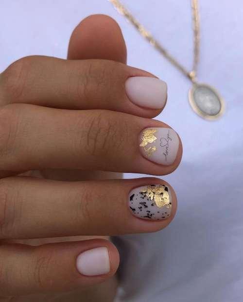 Milky very short nails design