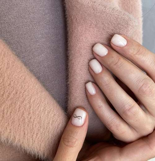 Milk manicure in the style of minimalism