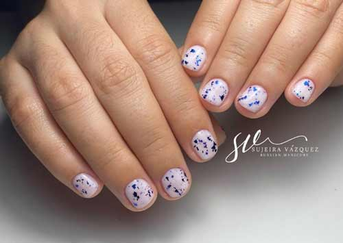 Milk manicure for very short nails