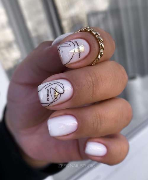 Milky with a spider web manicure