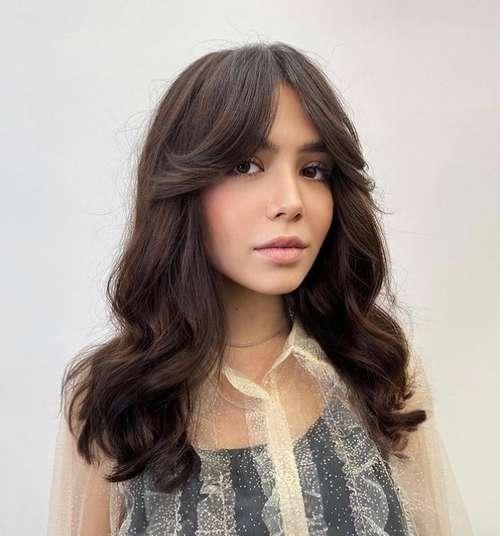 Fashionable bangs and haircut