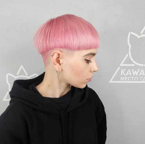Shaved temples and nape