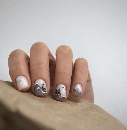 Black designs on short nails