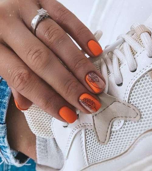 Leaflets on orange nails