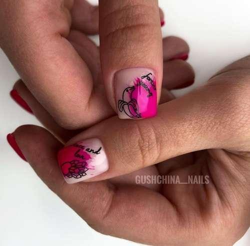 Contour designs on short nails