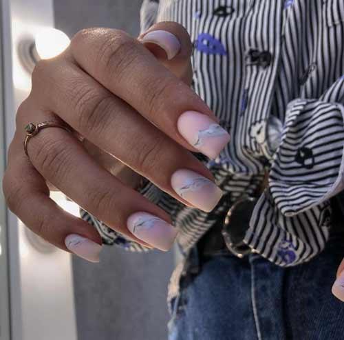 Nude manicure with divorces