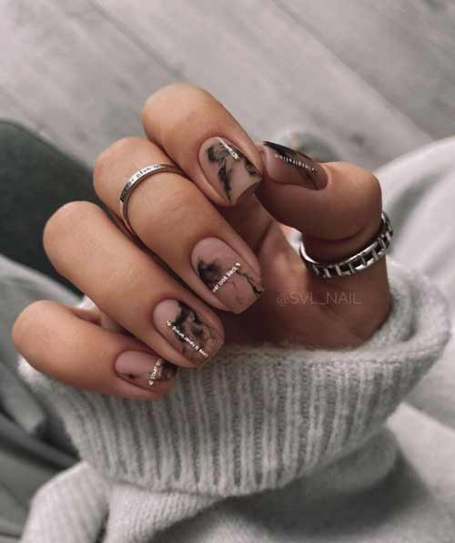 Short stained nails