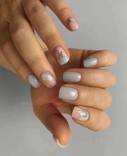 Watercolor manicure with stains