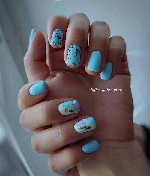 Short nails stain design