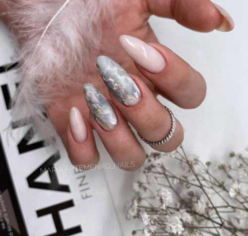 Long nails design with stains