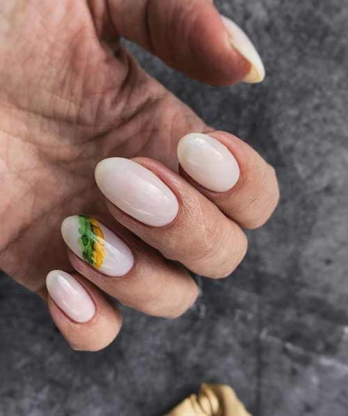 Nude nails with stains
