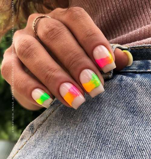 Neon stains nails