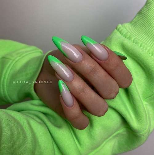 French for long nails green