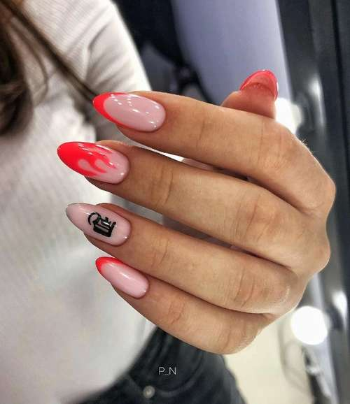 Long French nails with a pattern of fire