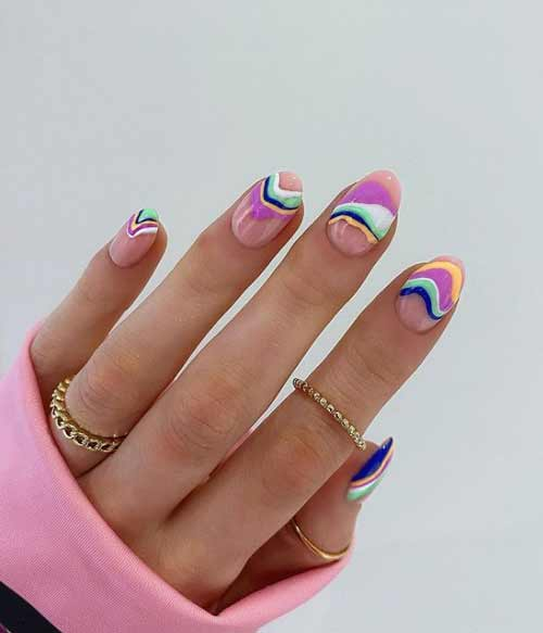 Multicolored French manicure