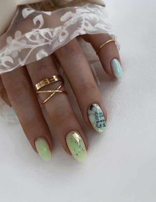Semi-sheer manicure with color bases and designs