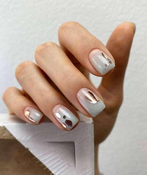 Semi-transparent manicure with decor