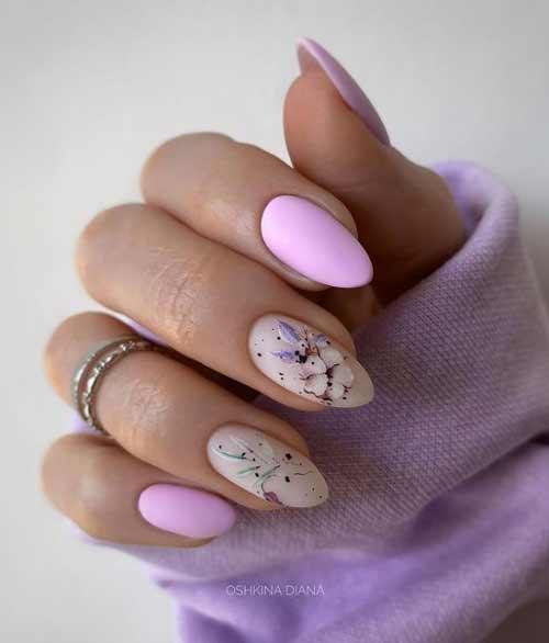 Lilac translucent manicure