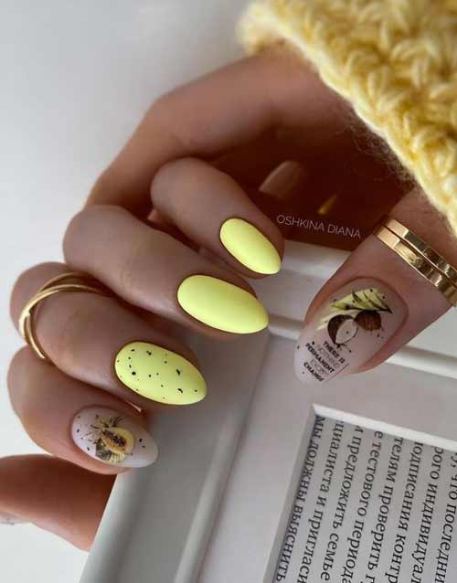 Yellow translucent manicure