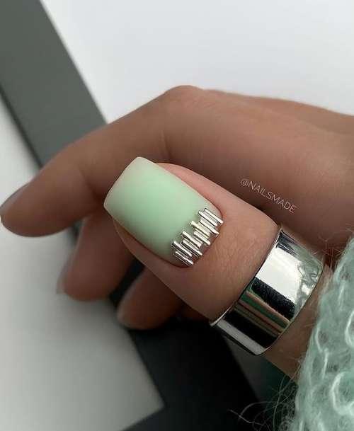 Translucent green manicure