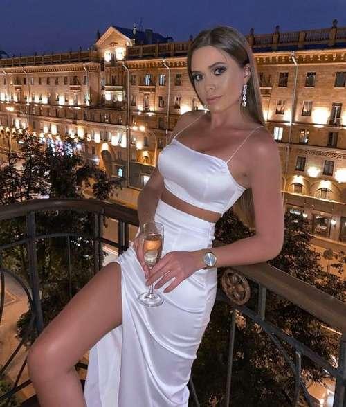 White silk skirt with slit