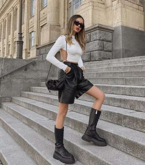 What to wear with leather shorts