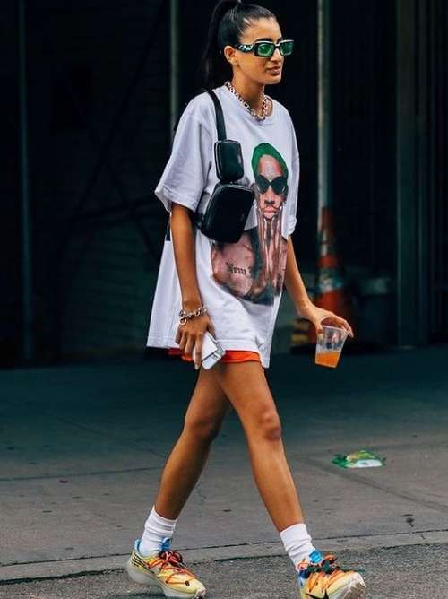 Shorts with a long t-shirt