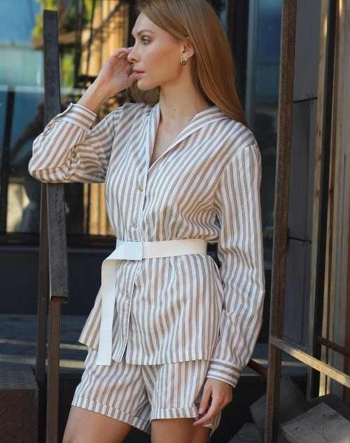 Cotton suit with shorts