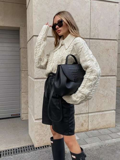 Look with shorts and sweater