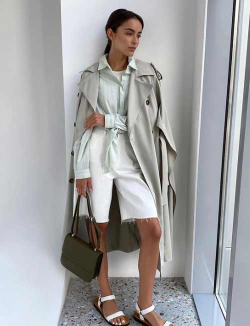 Look with mint-colored shorts