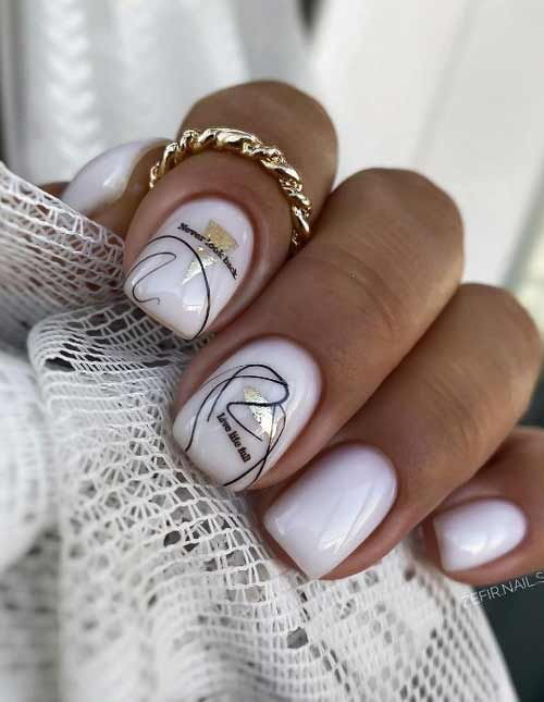 Beautiful milky manicure for short nails