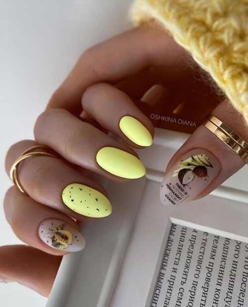 Yellow manicure Top manicure quail egg