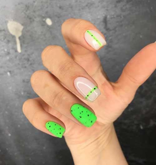 Neon green quail manicure